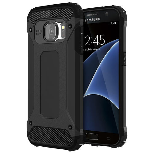 Black Military Defender Heavy Duty Shockproof Case - Samsung Galaxy S7